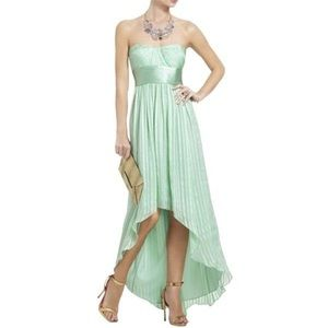 BCBG MAXAZRIA Opaline Green Silk High Low Dress